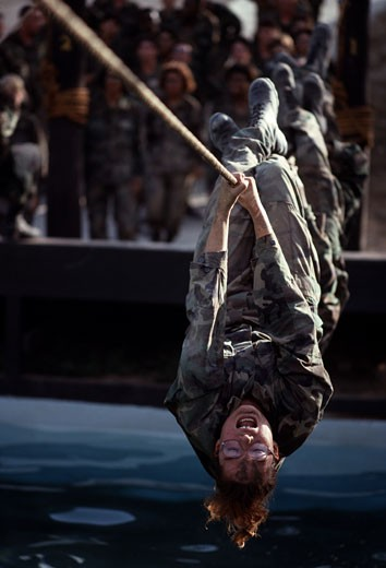 U.S. Air Force Trainees on Obstacle Course : Stock Photo