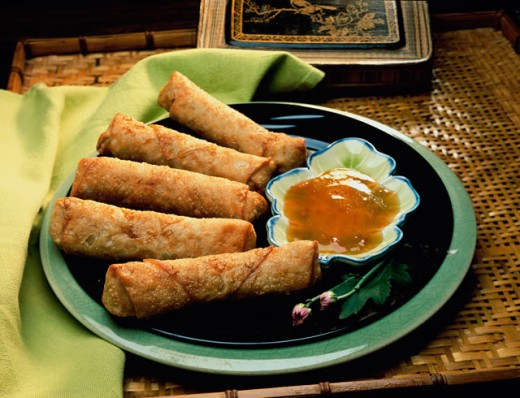 Stock Photo: 152-1128 Chinese egg rolls and sauce on a plate
