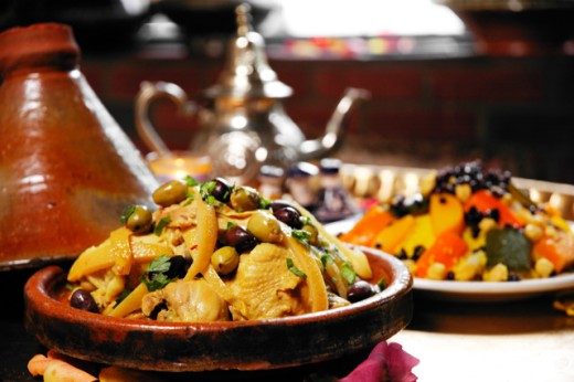 Stock Photo: 1522-146 Close-up of Moroccan tagine served in a bowl