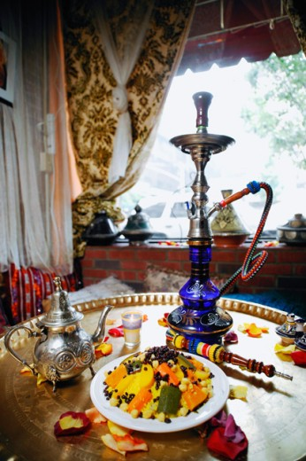 High angle view food served with a hookah on a table : Stock Photo