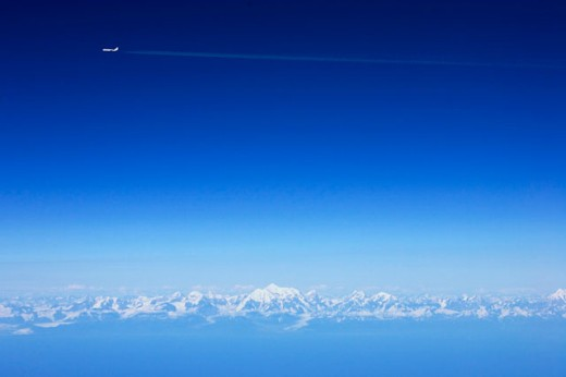 Airplane flying over the mountains, Alaska, USA : Stock Photo