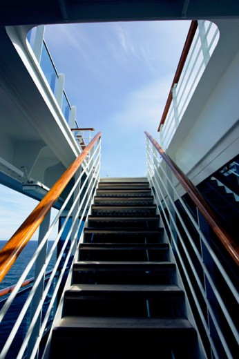 Low angle view of a staircase on a cruise ship : Stock Photo