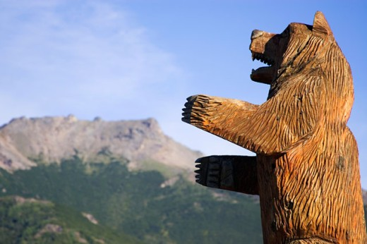 Close-up of a statue of bear, Denali National Park, Alaska, USA : Stock Photo