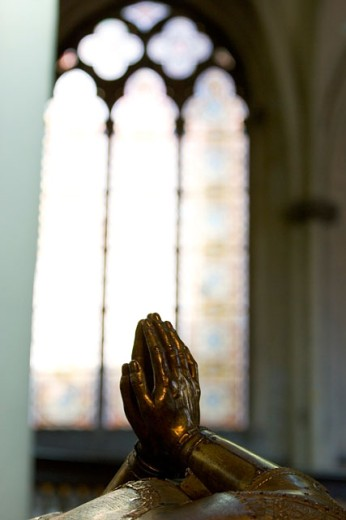 Close-up of a statue's hands in prayer position, Tomb of Charles the Bold, Church of Our Lady, Brugge, Belgium : Stock Photo