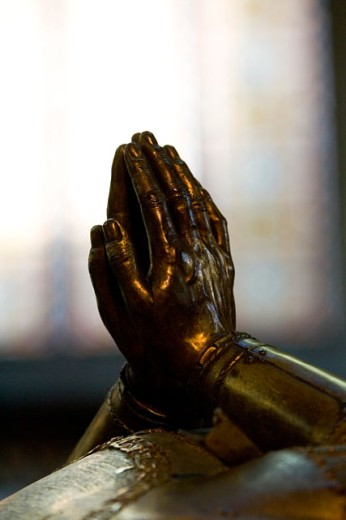 Stock Photo: 1522-240 Close-up of a statue's hands in prayer position, Tomb of Charles the Bold, Church of Our Lady, Brugge, Belgium