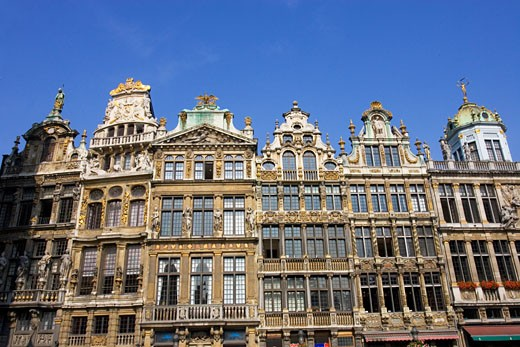 Low angle view of buildings in a row, Grand Place, Brussels, Belgium : Stock Photo
