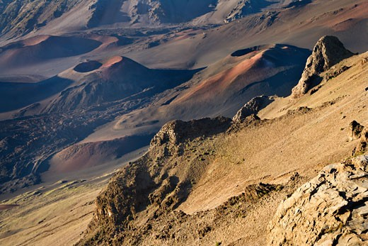 Craters of dormant volcano in Haleakala National Park in Maui, Hawaii. : Stock Photo