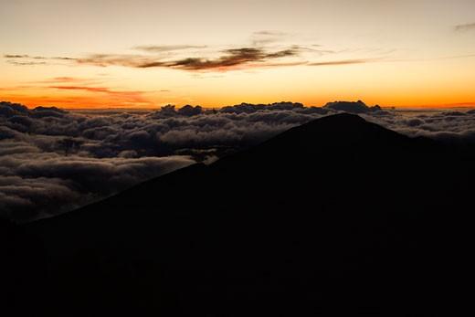 Stock Photo: 1525R-100395 Aerial of sunrise in Haleakala National Park, Maui, Hawaii.