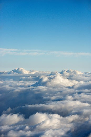 Aerial shot of clouds in Haleakala National Park, Maui, Hawaii. : Stock Photo