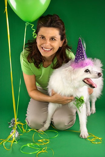 Caucasian prime adult female kneeling with fluffy white dog wearing party hat. : Stock Photo