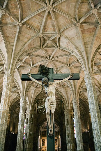 Crucifixion scene in Jeronimos Monastery. : Stock Photo