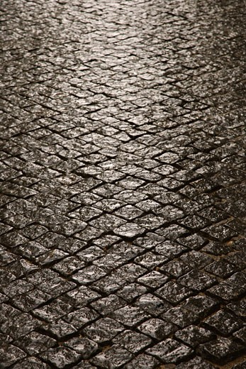 Stone inlayed street in Lisbon, Portugal. : Stock Photo
