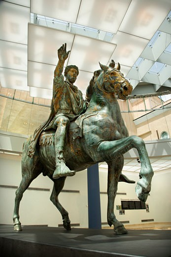 Marcus Aurelius on horse statue in Capitoline Museum, Rome, Italy. : Stock Photo