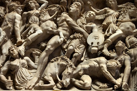 Relief sculpture of battle scene in the Vatican Museum, Rome, Italy. : Stock Photo