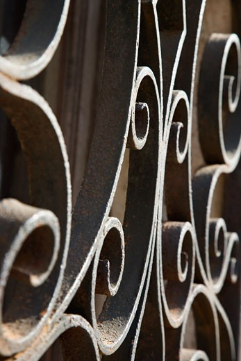 Close-up of wrought iron scrolls in Venice, Italy. : Stock Photo