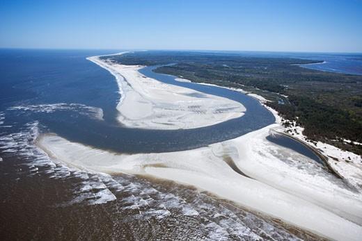 Aerial of coast at Cumberland Island National Seashore, Georgia. : Stock Photo
