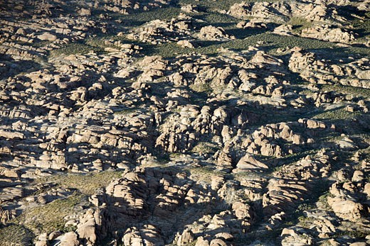 Aerial of rocky terrain in Alabama Hills, California, USA. : Stock Photo