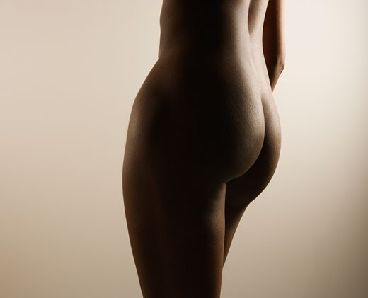 Stock Photo: 1525R-104993 Nude African American mid adult female body.