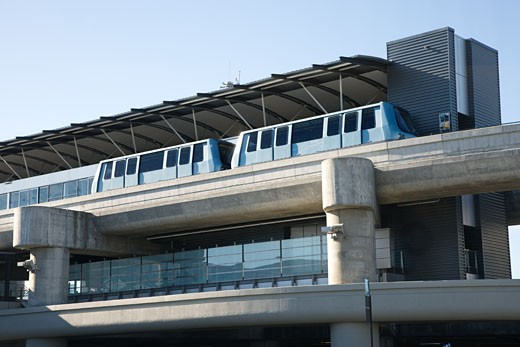 Low angle view of tram at airport.  : Stock Photo
