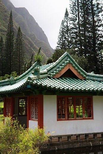 Shot of a pagoda in Iao Valley State Park in Maui, Hawaii. : Stock Photo