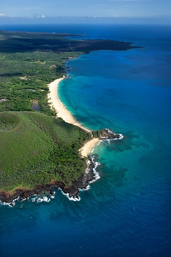 Aerial of Maui, Hawaii beach and Pacific ocean. : Stock Photo