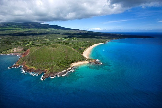 Stock Photo: 1525R-109963 Aerial of Maui, Hawaii coastline with crater and cliffs and beach on Pacific ocean.