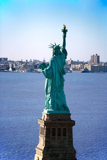 Stock Photo: 1525R-110012 Aerial view of Statue of Liberty.
