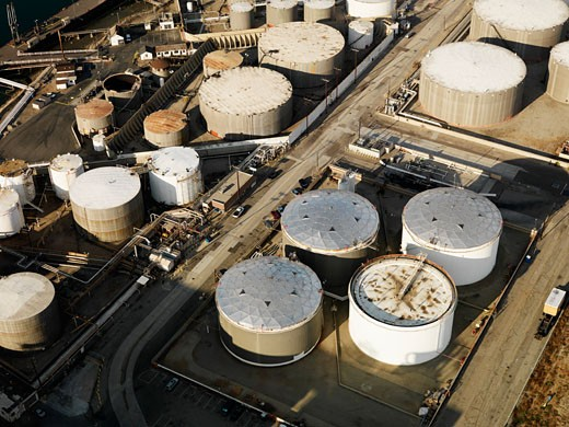 Stock Photo: 1525R-110484 Aerial view of liquid storage tanks in Los Angeles California oil refinery.