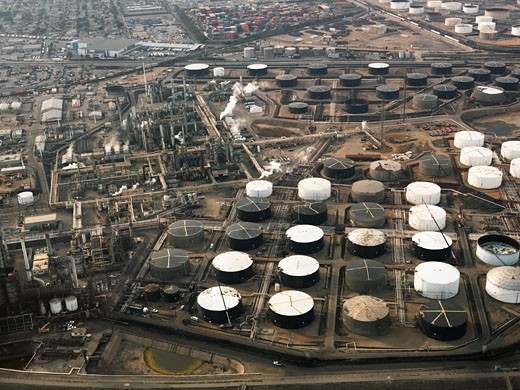 Aerial view of liquid storage tanks in Los Angeles California oil refinery. : Stock Photo