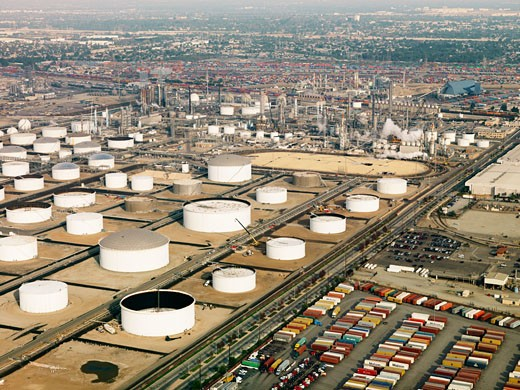 Stock Photo: 1525R-110491 Aerial view of liquid storage tanks in Los Angeles California oil refinery.