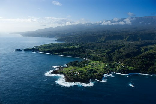 Stock Photo: 1525R-111087 Aerial view of Maui, Hawaii coastline.