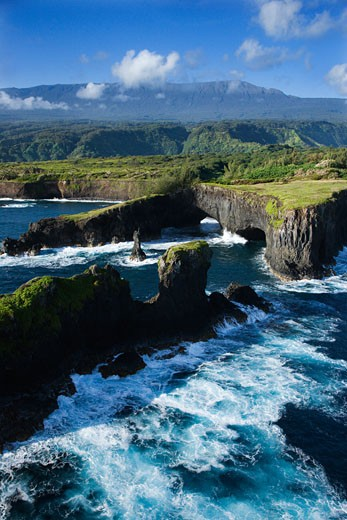 Aerial of rocky coast on Pacific ocean in Maui, Hawaii. : Stock Photo