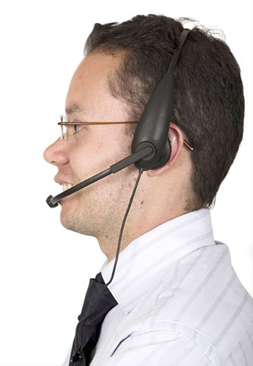 friendly customer services man over white : Stock Photo