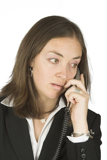 business woman on the phone over white : Stock Photo