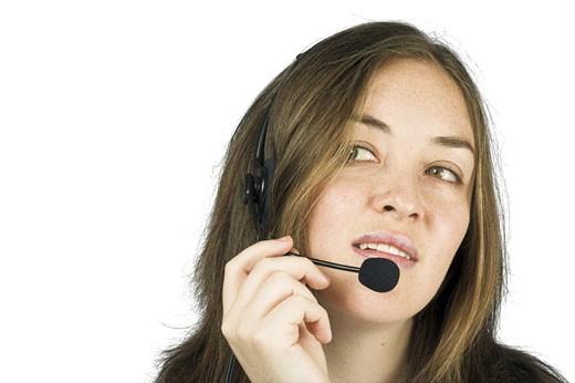 customer service representative in action : Stock Photo