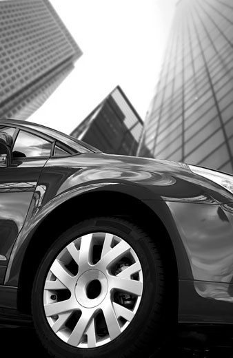 black and white view of a car in a corporate environment : Stock Photo