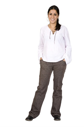 Stock Photo: 1525R-112626 Casual Female Portrait over white