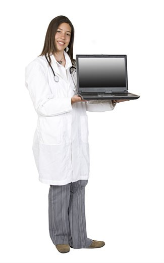 Stock Photo: 1525R-112845 female doctor with a laptop - full body over white