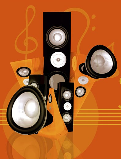 Stock Photo: 1525R-113477 music and sound abstract illustration made in 3d - orange