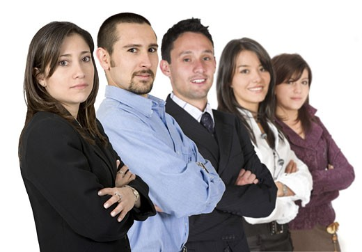 business team full of young entrepreneurs - focus is on on the closer woman : Stock Photo