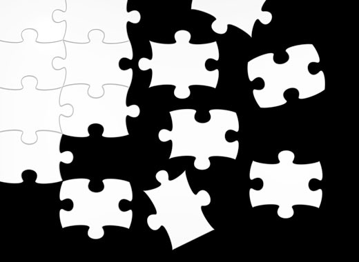 Stock Photo: 1525R-113702 black and white puzzle - positive and negative contrast - 3d render