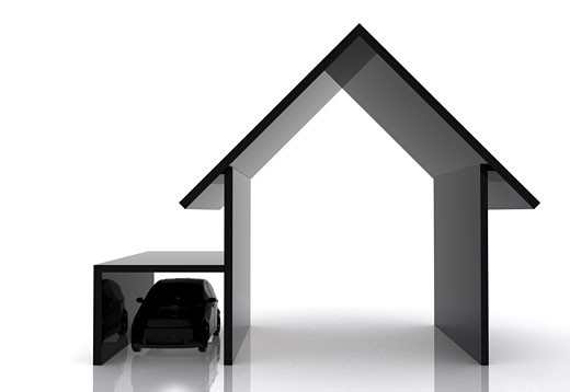black house and car illustration made in 3d : Stock Photo