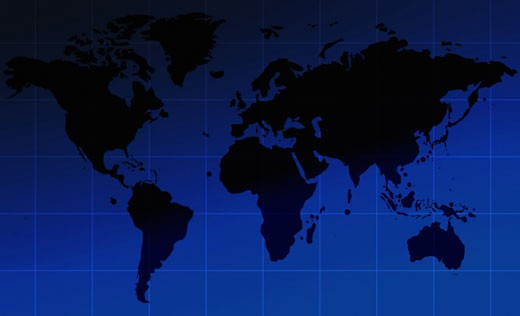 Stock Photo: 1525R-113722 corporate world map over a blue gradient