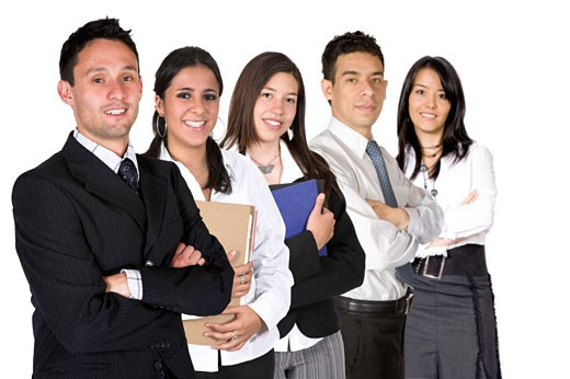 Stock Photo: 1525R-113813 business team over a white background - all members of business team have a friendly look