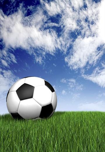 football ball on green grass mad ein 3d : Stock Photo