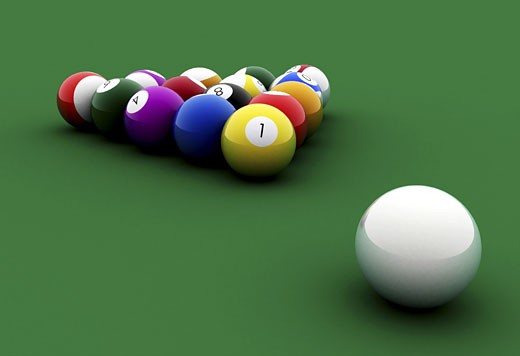 Stock Photo: 1525R-114340 billiards balls on a green table made in 3d