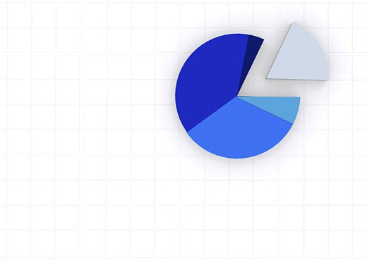 blue pie chart on a white grid : Stock Photo