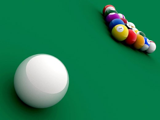 Stock Photo: 1525R-114589 billiard pool balls in perspective made in 3d