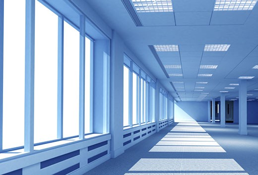 interior of an open office space in blue tones made in 3d : Stock Photo