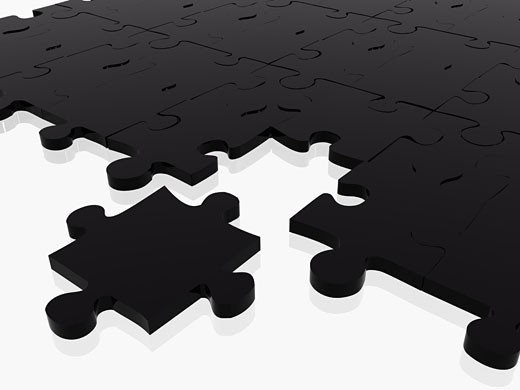 Stock Photo: 1525R-114833 black puzzle in 3d